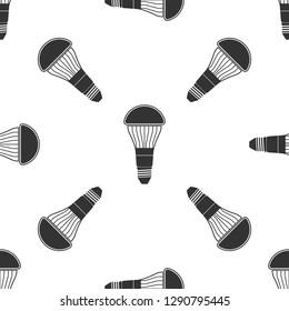 LED light bulb icon seamless pattern on white background. Economical LED illuminated lightbulb. Save energy lamp. Flat design. Vector Illustration