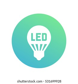 led light bulb, lamp icon, round pictogram on white