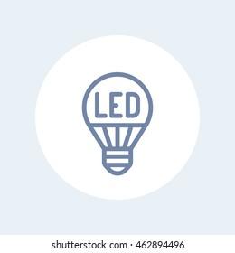 led light bulb line icon isolated on white