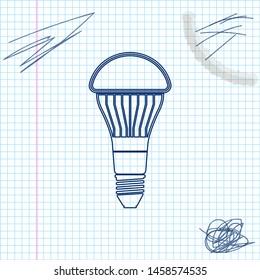 LED light bulb line sketch icon isolated on white background. Economical LED illuminated lightbulb. Save energy lamp. Vector Illustration