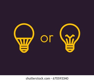 led light bulb and usual, linear icons