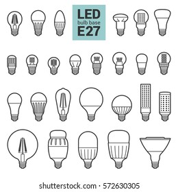 LED light bulbs with E27 base, vector outline icon set on white background