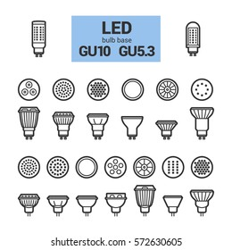 LED light bulbs with GU10 and GU5.3 base, vector outline icon set on white background