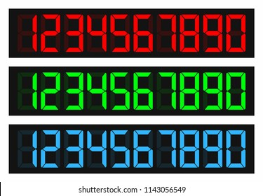 Led number display. Digital colored numbers. Black background red, green, blue digits vector illustration