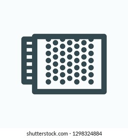 LED power supply isolated icon, perforated LED power supply linear vector icon