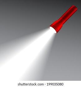 LED red flashlight with a light beam. Lighting concept