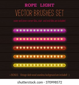 LED Rope Lights style vector pattern brushes set  with outer and inner corner tiles, end and start tiles, are located in the Brush panel of this EPS file.
