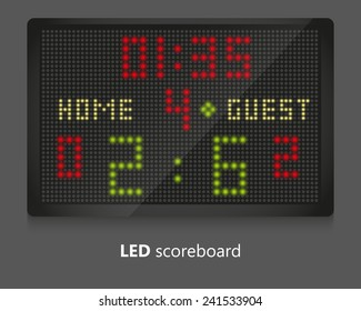 LED scoreboard for sport games. Illustrated on gray background