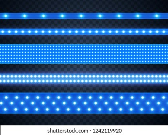Led strip bright blue light, realistic set. Decoration illuminated tape, glowing lamp in line on black. Vector illustration
