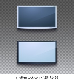 LED TV hanging on the wall with transparent background. Two colors of gadgets, for your design. LCD or LED TV screen. Blank display, mock-up of digital equipment. Vector illustration