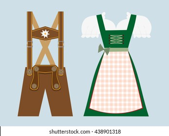 lederhosen and dirndl, traditional bavarian clothing vector illustration