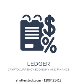 Ledger icon. Trendy flat vector Ledger icon on white background from Cryptocurrency economy and finance collection, vector illustration can be use for web and mobile, eps10