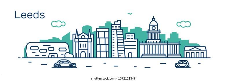 Leeds city. Modern flat line style. Vector illustration. Concept for presentation, banner, cards, web page