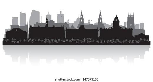 Leeds city skyline silhouette vector illustration