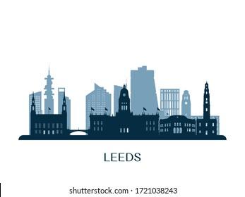 Leeds skyline, monochrome silhouette. Vector illustration.