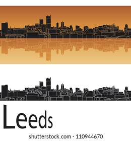 Leeds skyline in orange background in editable vector file