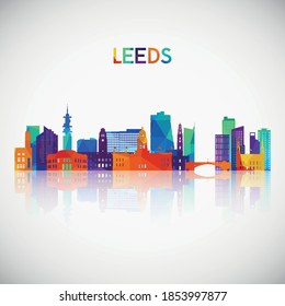 Leeds skyline silhouette in colorful geometric style. Symbol for your design. Vector illustration.