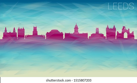 Leeds United Kingdom Silhouette Skyline City Vector. Broken Glass Abstract Geometric Dynamic Textured. Banner Background. Colorful Shape Composition.