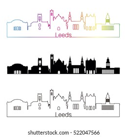 Leeds V2 skyline linear style with rainbow in editable vector file