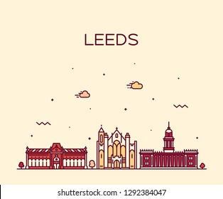 Leeds, West Yorkshire, England. Trendy vector illustration, linear style
