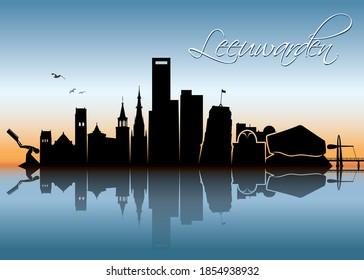 Leeuwarden skyline Netherlands cityscape vector illustration