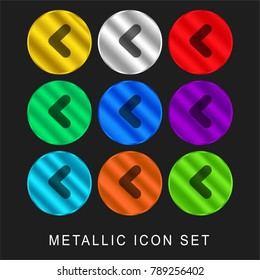 Left 9 color metallic chromium icon or logo set including gold and silver