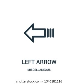 left arrow icon vector from miscellaneous collection. Thin line left arrow outline icon vector illustration. Linear symbol for use on web and mobile apps, logo, print media.