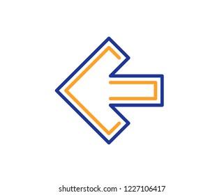 Left arrow line icon. Direction Arrowhead symbol. Navigation pointer sign. Colorful outline concept. Blue and orange thin line color icon. Left arrow Vector