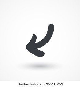 Left down arrow curve icon