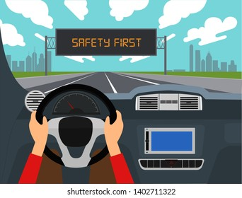 Left hand drive car, Right driving vector illustration.