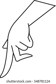 Left hand walk by forefinger and middle finger. Line art style graphic design element. Approval, vote, love, favorite gesture concept. Vector illustration.