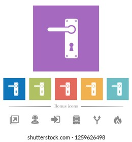 Left Handed Door Handle With Screws Flat White Icons In Square Backgrounds.  6 Bonus Icons