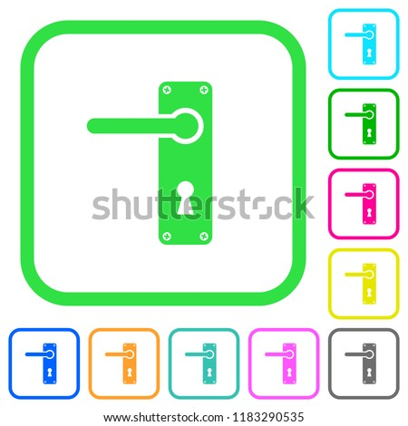 Left Handed Door Handle With Screws Vivid Colored Flat Icons In Curved  Borders On White Background