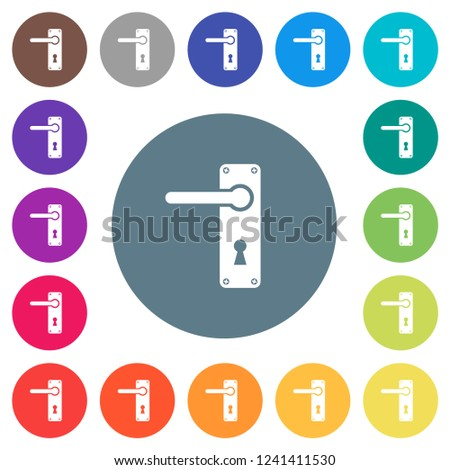 Left Handed Door Handle With Screws Flat White Icons On Round Color  Backgrounds. 17 Background