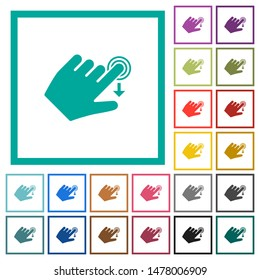 Left handed slide down gesture flat color icons with quadrant frames on white background