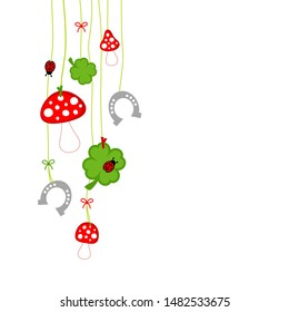 Left Hanging Fly Agaric Shamrocks Horseshoe And Ladybug White