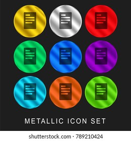 Left justification button 9 color metallic chromium icon or logo set including gold and silver