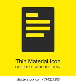 Left justification button bright yellow material minimal icon or logo design