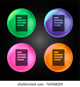 Left justification button crystal ball design icon in green - blue - pink and orange.