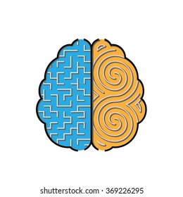 Left and right brain creative concept with 2 styles of mazes inside.