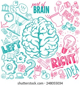 Left and right brain functions, hand drawn illustration