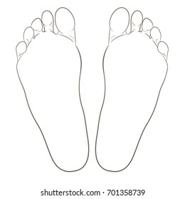 Left and right foot soles contour illustration for biomechanics, footwear, shoe concepts, medical, health, massage, spa, acupuncture. Realistic cartoon outline contour. Vector isolated on white.
