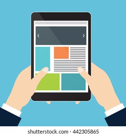 Left and right hand of businessman is holding tablet on sky blue background. Vector illustration flat style.