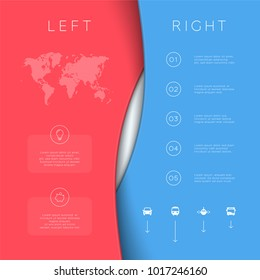 Left Right Red Blue Background Template 3d Vector