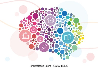 the left right side of the brain made of multicolored in a circle. Vector art image in many rainbow colors background