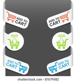 Left and right side signs - Add to cart. Vector illustration.