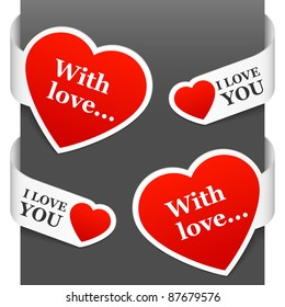 Left and right side signs - With love and I love You. Vector illustration.