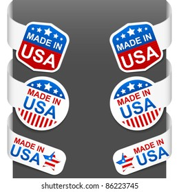 Left and right side signs - MADE IN USA. Vector illustration.