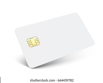 left tilt white blank chip card, isolated white background, 3d illustration