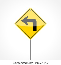 Left turn ahead traffic sign isolated on white background
